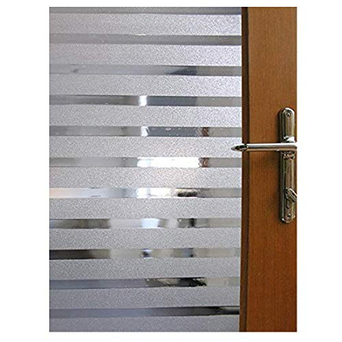 Becry Vinyl Static Cling White Frosted Stripe Window Film Decorative Home Office Front Door Translucent Privacy Glass Window Film Clings,17.7-by-78.7 Inches(45 x 200CM)