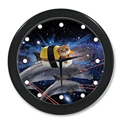 Halloween's Day Cute Cat On Dolphins With Laser Beams In Galaxy Space Hot Sale Elegant Wall Clock