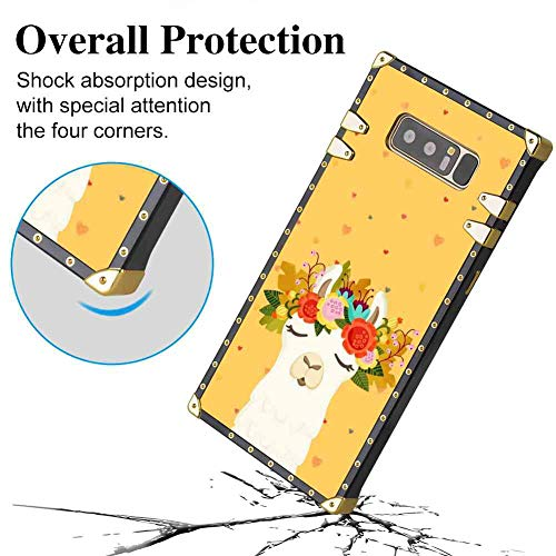 Soft Shine Reinforced Edges Bumper Alpaca Protective Phone Case Compatible with Galaxy Note 8 Cool Luxurious Girls