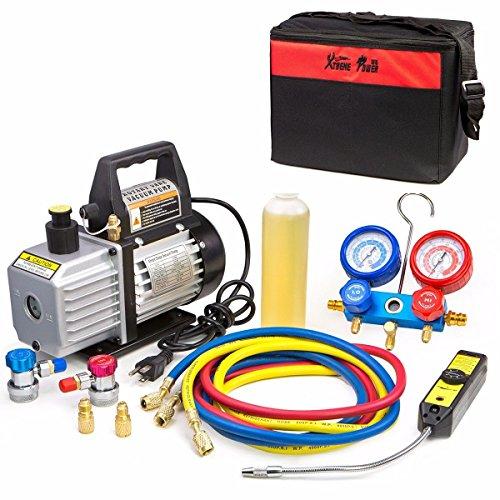 - 4CFM Vacuum Pump HVAC Refrigeration AC Manifold Gauge r134 r12 leak Detector