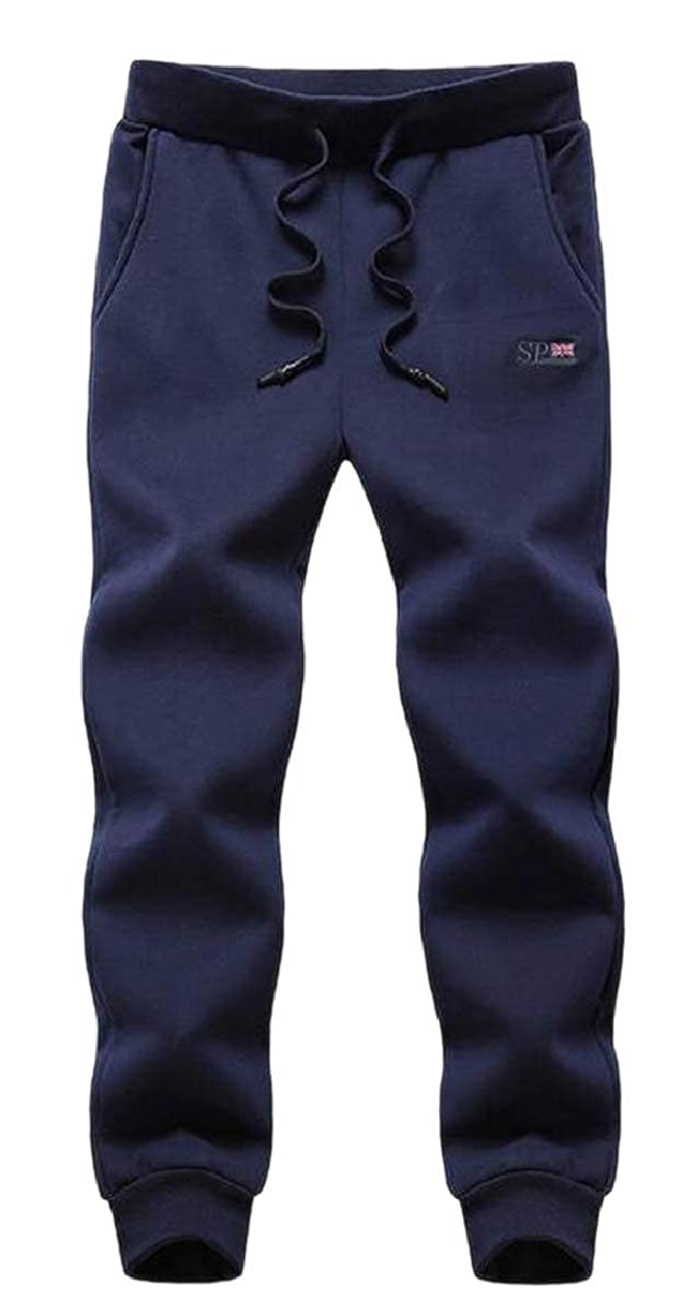 bluee Xswsy XG-CA Men Cozy Loose Fit Velvet Thicken Casual Plus-Size Jogger Pants Trousers