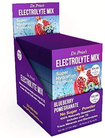 Electrolyte Mix Super Hydration Formula Trace Minerals New Blueberry-Pomegranate Flavor 30 Powder Packets Sports Drink Mix Dr. Price s Vitamins No Sugar, Non-GMO, Gluten Free Vegan