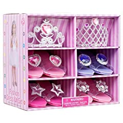 Set includes 4 pairs of shoes in different styles and colors (Exactly as Pictured) Great for Pretend Play or as Costume Accessories Girls will love it!!!
