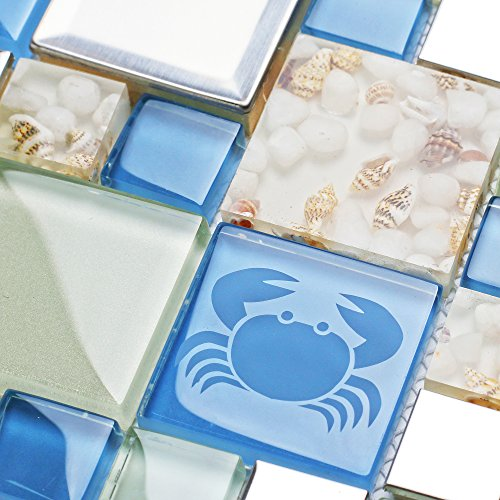 2' Glass Mosaic Tile - New Idea Tile Kitchen Bath Backsplash Accent Wall Decor TST Glass Metal Tile Marine Animals Icon Beach Style Inner Conch Sea Blue Mosaic Tiles TSTNB11 (1 Sample 6x6 Inches)
