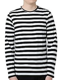 Men Long Sleeves Stripes Slim Fit Tee Shirt