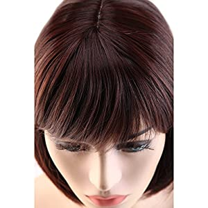 S-noilite Short Straight Bob Hair Wigs for Women Ladies Natural Daily Cosplay Party Dress Costume Heat Resistant Synthetic Full Head Wig with Bangs (Black Auburn Mix)
