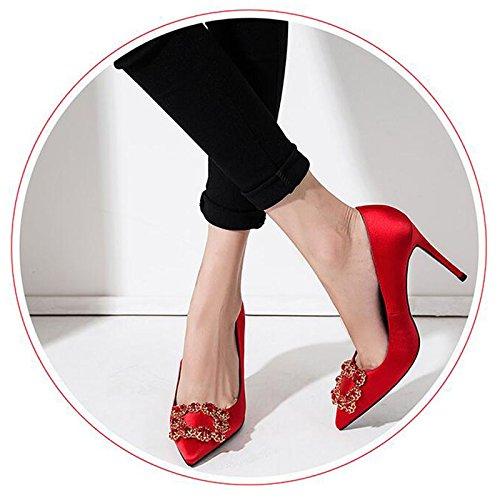 Femme Chaussures F338 Sunny Diamant La Mariage Talon Pointu Hauts 10cm Bouche Mince 1 Rouge Profonde Peu Simples Talons Pu Faux Soie qBEBrIpwdx