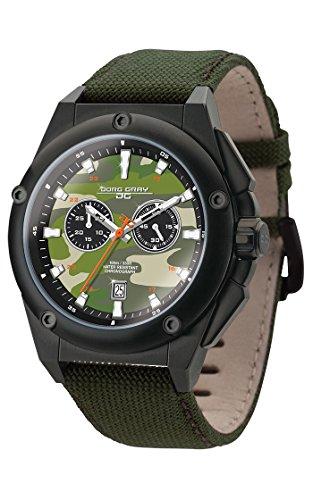 Jorg Gray JG8800-21 Mens Watch Camo Dial Chrono Dark Green Canvas Leather Strap