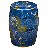With a simple and elegant silhouette, this porcelain garden stool is modeled after the traditional Chinese drum, and the carved design on its sides takes its shape from ancient Chinese coins. Hand-glazed in a speckled blue color to resemble w...