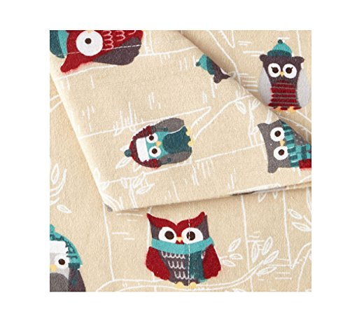 JCP Home 100% Cotton Heavyweight Flannel Sheet Set Owls Size Twin XL