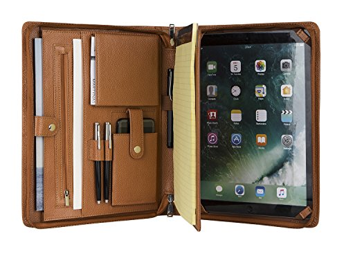 Professional Portfolio for iPad 10.5, Full-grain Cow Leather Padfolio Case Zippered Business Organizer Interview Meeting Document Holder, with Letter Size Notepad Holder (iPad Pro 10.5, Brown)