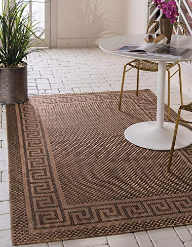 Transitional Key - Unique Loom Outdoor Collection Casual Greek Key Border Indoor and Outdoor Transitional Brown Area Rug (4' x 6')