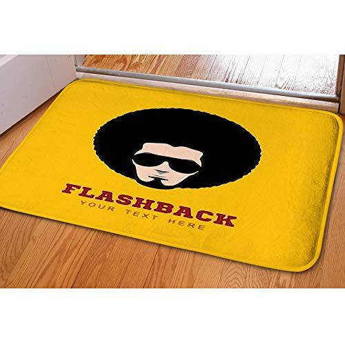 iBathRugs Door Mat Indoor Area Rugs Living Room Carpets Home Decor Rug Bedroom Floor Mats,Retro Man 1970s Hairstyle Frizzy -