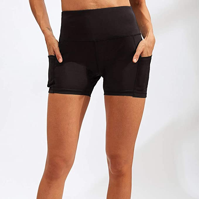 XMLMRY Womens Yoga Shorts Side Pockets High Waist Biker Shorts Running Workout Shorts