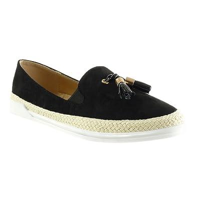 Angkorly Damen Schuhe Espadrilles Mokassin - Slip-On - Sneaker Sohle - Seil - Fransen - Bommel Flache Ferse 3 cm - Schwarz FC-02 T 39 TZru4i