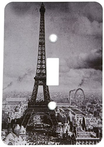 3dRose lsp_6793_1 Eiffel Tower Paris France 1889 Black and White Single Toggle Switch, Multicolor