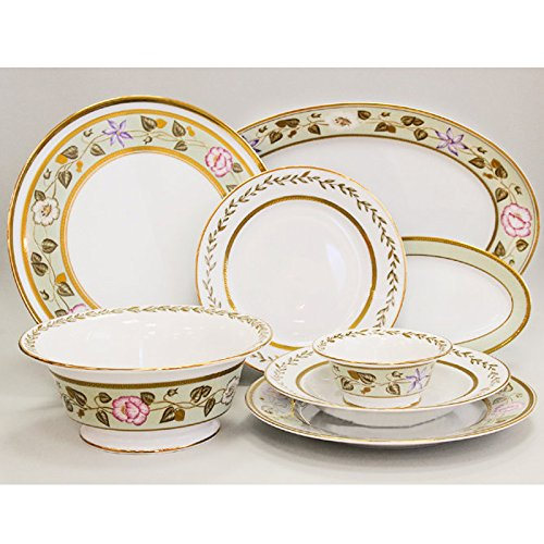 Jade Background 24-Piece Dinner Set for 6 Persons. 22k Gold by Imperial Porcelain Factory