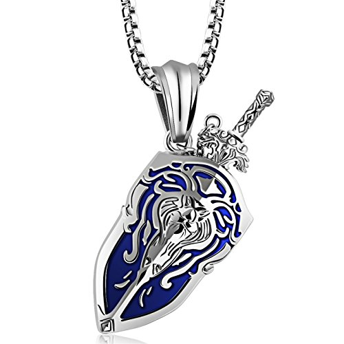 LOHOME Fashion Necklaces Silver/Black/Gold Tone Titanium Steel Sword and Shield Charm Pendant Necklace for Mens