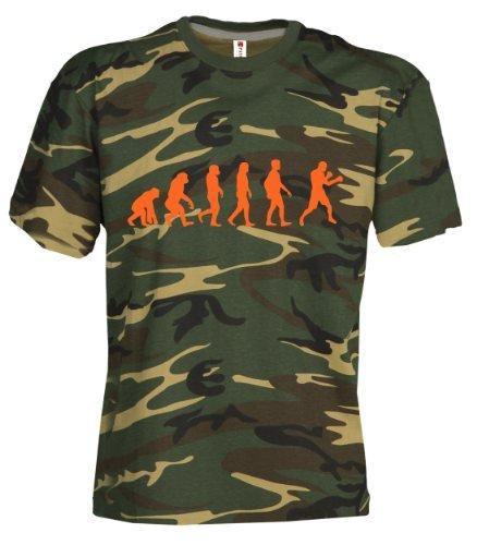 Camouflage Classic Army Style T-Shirt Kurzarm in Tarnfarbe Bedruckt mit Evolution Boxing in Neon Orange S.B.J - Sportland