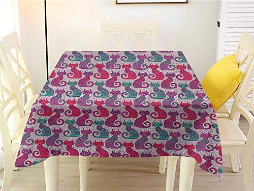 L'sWOW Square Tablecloth red Purple Swirls and Curls Background with Damask Inspired Paisleys on The Ethnic Colorful Cat Multicolor Stain 54 x 54 Inch