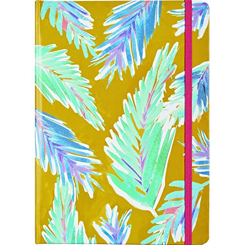JAM PAPER Hardcover Notebook with Elastic Band - 5 3/4 x 8 1/4 - Colorful Palms Design Journal - 160 Lined Sheets - Sold Individually