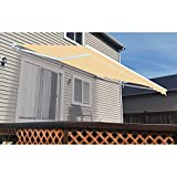 ALEKO Retractable Patio Awning 12ft x 10ft (3.65m x 3m) Ivory Color