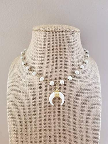 White Double Horn Pendant Choker Necklace Rosary Beaded Chain Gold Ivory