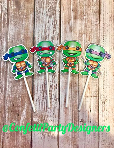 12 Ninja Turtles Cupcake Toppers -