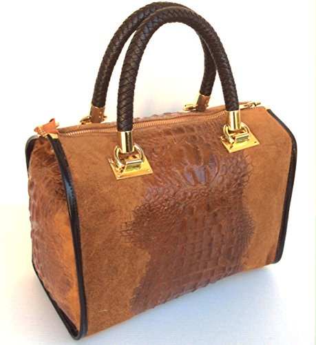 Chamois en Croco vrai Italy Bauletto Isa cuir Sac Superflybags Made Marron Modèle imprimé crocodile in CwqTXZnx
