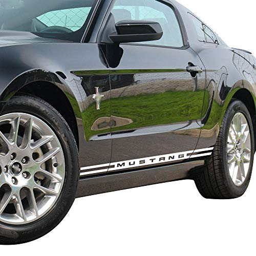 (Charminghorse 2 Pieces Racing Rally Kit Stripes Vinyl Decal Graphic Stickers for Ford Mustang 2015 2016 2017 (White) )