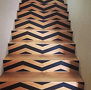 """Chevron Your Stairs - Removable Vinyl Decals for your Stair Risers - Hot Geometric Trend in Interior Design and Home Decor - 6"""" x 36"""" - Black"""