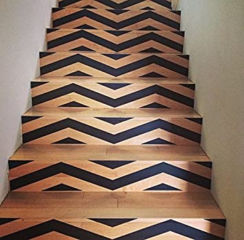 Chevron Your Stairs   Removable Vinyl Decals For Your Stair Risers   Hot  Geometric Trend In