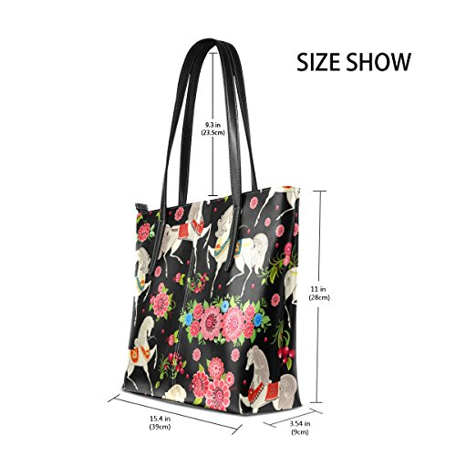 PU Purses Fashion In Shoulder Top Flowers Horses Women's Bags Handbag TIZORAX Leather Totes Handle OYUIHqxxw