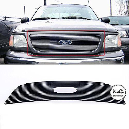 VIOJI New 1pc Overlay Main Upper Aluminum Polished Billet Grille w/Hardware+Instruction For 99-03 Ford F-150 & 99-03 Ford F-150 Harley Davidson & 99-03 Ford F-150 Lightning