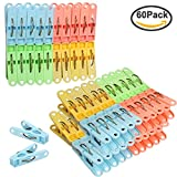FASOTY Pack of 60 Clothes Pins Clothing Clips Plastic Soft Grip, Anti-Slip Clothes Pins Assorted Colors