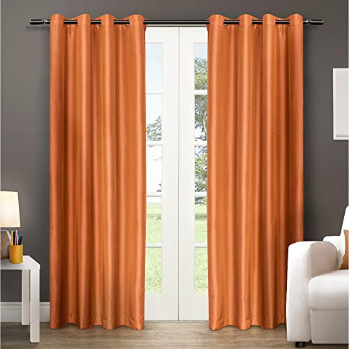 Panel Classic Silk Window - Exclusive Home Chatra Faux Silk Window Curtain Panel Pair with Grommet Top, Spice, 54x96, 2 Piece