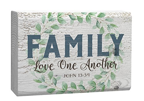 Family Love One Another Green Laurel Wreath White 4 x 5 Inch Solid Pine Wood Barnhouse Block (Wood Block Decor)