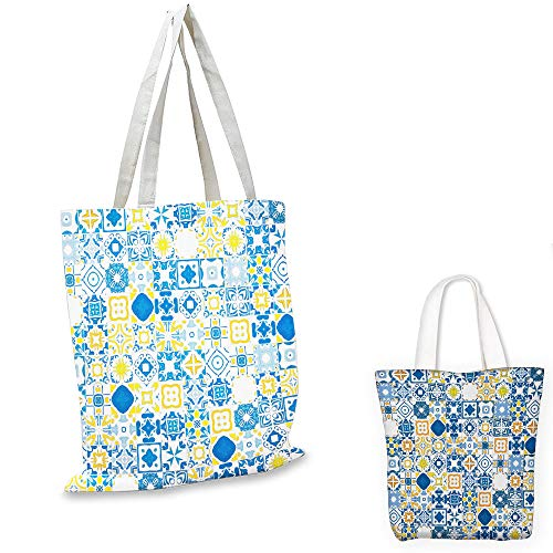grocery bags Yellow and Blue Mosaic Portuguese Azulejo Mediterranean Arabesque Effect Violet Blue Mustard White canvas lunch bag