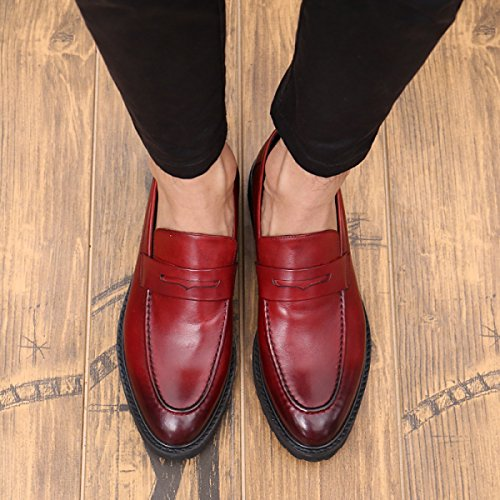 Hommes Chaussures Hommes Bas WineRed Aider Casual Chaussures Pour Mode GRRONG Chaussures Cuir Cuir Marée En XnxZztY