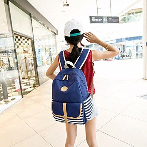 Blue Navy Stripe Rucksack Rucksack Schule Taschen für Damen Frauen Mädchen Lässige Daypack