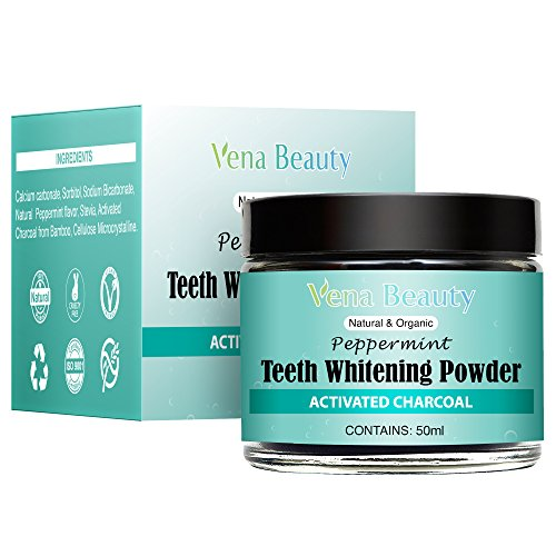 Natural Teeth Whitening Powder - Made with Organic Bamboo Activated Charcoal and Food Grade Formula –for Sensitive Teeth and Healthy Whitener (30ml) by Gemmaz