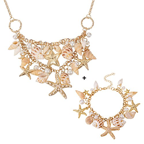 Pandahall Fashion Sea Shell Starfish Faux Pearl Collar Bib Statement Chunky Necklace and Bracelets Set in Gift Box