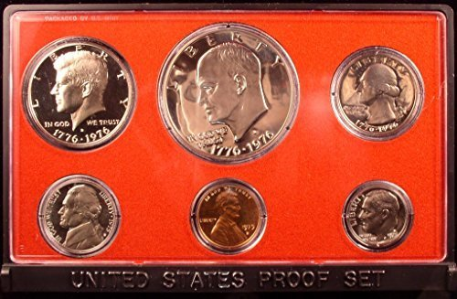 Coin Ike Dollar - 1975 S US Mint 6-Piece Proof Set with Dual Date Proof Ike Dollar Proof OGP