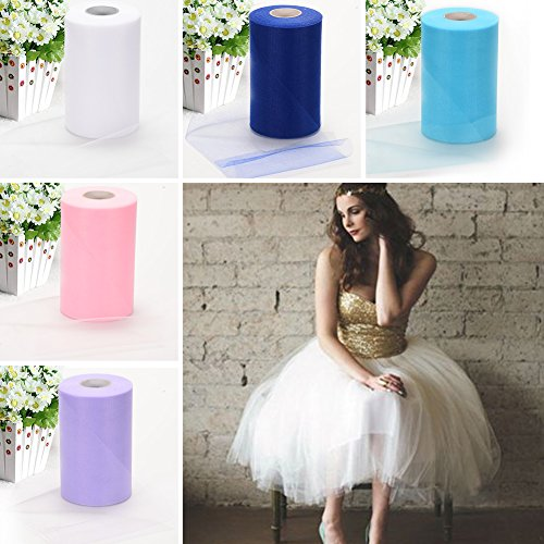Haperlare 6 Inch x 200 Yards (600FT) White Tulle Rolls Tulle Spool White Tulle Fabric Rolls Wedding Tulle for Gift Bow Craft Tutu Skirt Wedding Party Decorations by Haperlare (Image #6)
