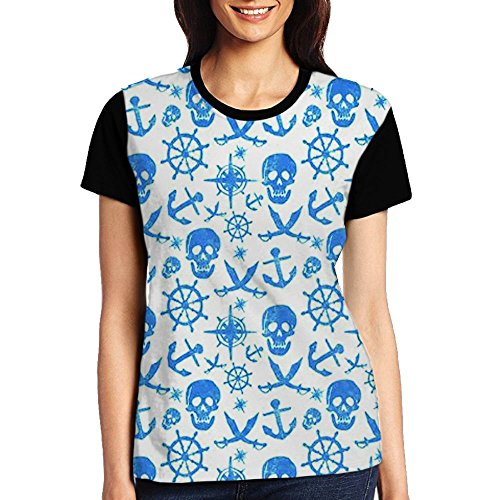 - Pirate Skull Anchor Rudder Cross Knife Matrix Jersey Baseball Tee T Shirts For Women Tshirt