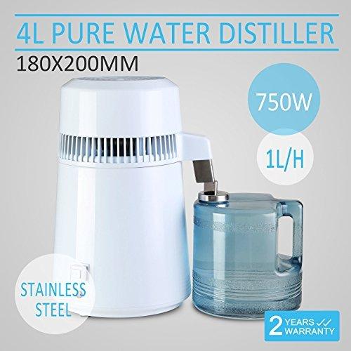 SteamSun Water Distiller Water Distillation Purifier Pure Water Purifier Filters 4L All Stainless Dirk Internal Water Bottle Effective Purifier (Stainless Steel) by SteamSun