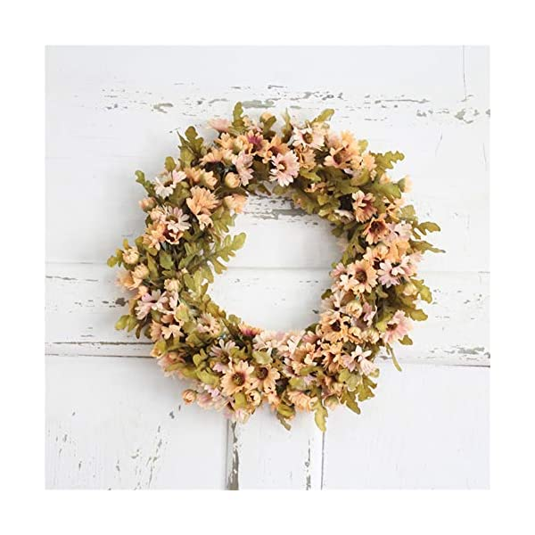 Liveinu Handmade Daisy Floral Artificial Simulation Peony Flowers Garland Wreath Wedding Table Centerpieces for Home Party Decor 11.7 Inch Pink Door Wreath