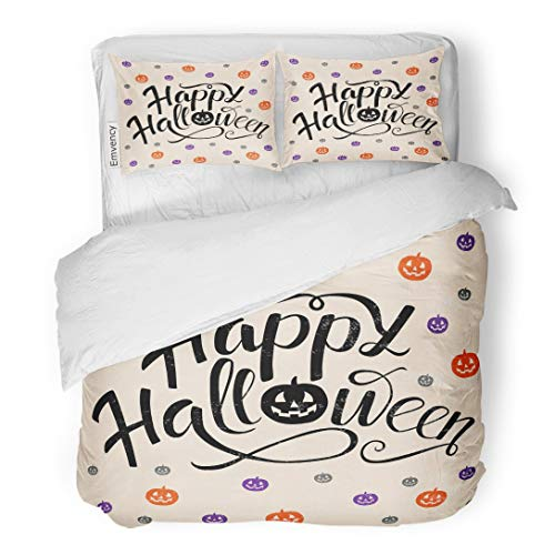 Tarolo Bedding Duvet Cover Set Happy Halloween Lettering Pumpkins in Orange Violet and Gray Colors Trick Treat for Party Magazines 3 Piece Twin 68