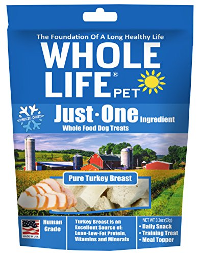 Whole Life Pet Just One-Single Ingredient Freeze Dried Treats For Dogs Pure Turkey Breast, 3.3Oz
