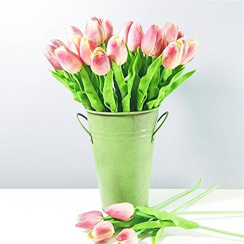 apretado Flor 14 pulgadas Artificiales De Seda Tulipanes Rojos Flores De Primavera 6 tallos 35cm